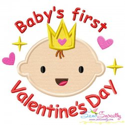 Baby's First Valentine's Day Lettering Applique Design