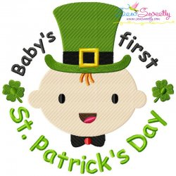 Baby's First St. Patrick's Day Lettering Embroidery Design