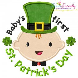 Baby's First St. Patrick's Day Lettering Applique Design