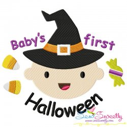 Baby's First Halloween Lettering Embroidery Design