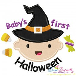 Baby's First Halloween Lettering Applique Design