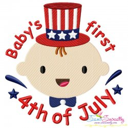 Baby's First 4th of July Lettering Embroidery Design