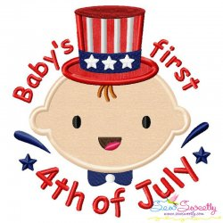 Baby's First 4th of July Lettering Applique Design