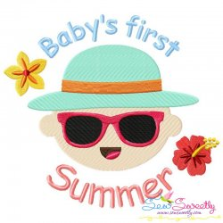 Baby's First Summer Lettering Embroidery Design