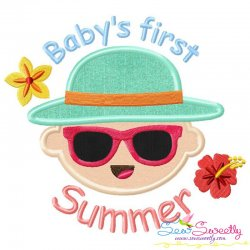 Baby's First Summer Lettering Applique Design