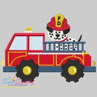 Fire Truck With Dalmatian Dog Embroidery Design