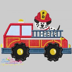 Fire Truck With Dalmatian Dog Applique Design