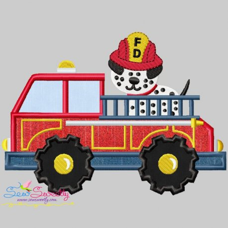 Fire Truck With Dalmatian Dog Machine Embroidery Applique Design