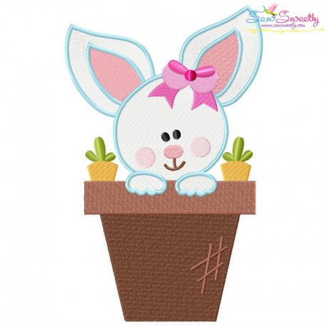 Baby Bunny Girl Pot Embroidery Design
