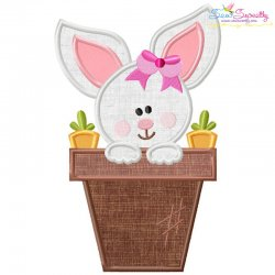 Baby Bunny Girl Pot Applique Design