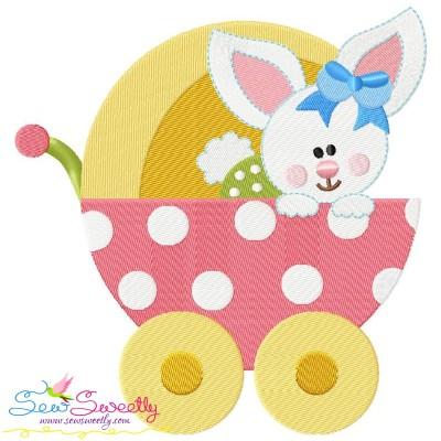 Baby Bunny Girl Stroller Embroidery Design