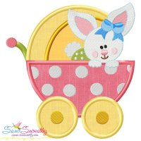 Baby Bunny Girl Stroller Applique Design