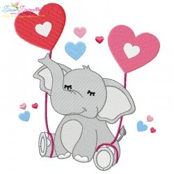 Valentine Elephant-2 Embroidery Design
