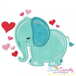 Valentine Elephant Applique Design