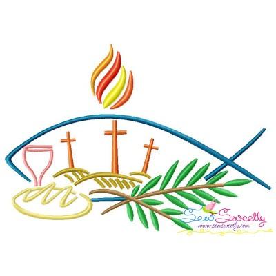 Satin Stitch Cross-2 Embroidery Design