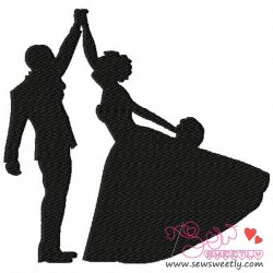 Bride and Groom Dancing Embroidery Design