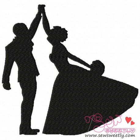 Bride and Groom Dancing Embroidery Design For Weddings