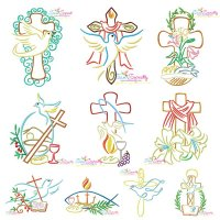 Satin Stitch Crosses Embroidery Design Bundle