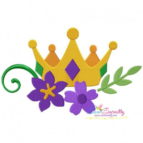 Mardi Gras Floral Crown Embroidery Design