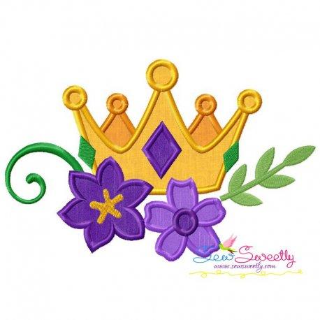 Mardi Gras Floral Crown Applique Design
