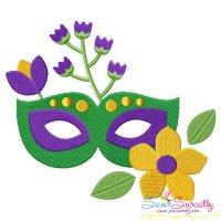 Mardi Gras Floral Mask-1 Embroidery Design