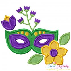 Mardi Gras Floral Mask-1 Applique Design