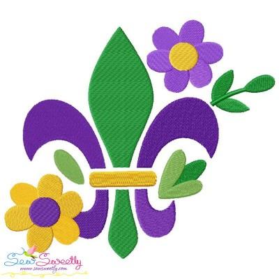 Mardi Gras Floral Fleur De Lis Embroidery Design