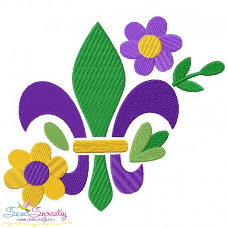 Mardi Gras Floral Fleur De Lis Embroidery Design Pattern- Category- Mardi Gras Designs- 1