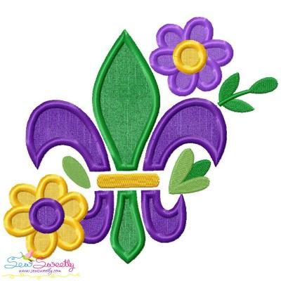 Mardi Gras Floral Fleur De Lis Applique Design