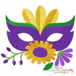 Mardi Gras Floral Mask-2 Embroidery Design