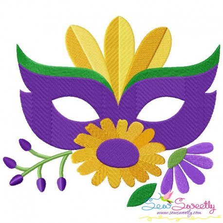 Mardi Gras Floral Mask-2 Embroidery Design