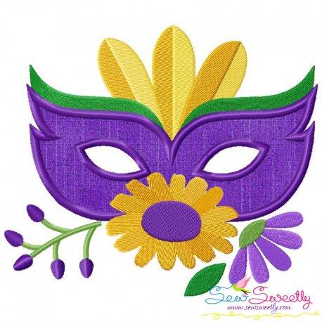 Mardi Gras Floral Mask-2 Applique Design