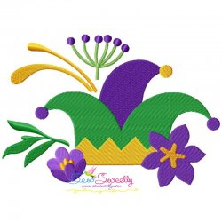 Mardi Gras Floral Jester Hat Embroidery Design
