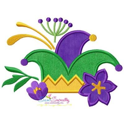 Mardi Gras Floral Jester Hat Applique Design