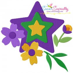 Mardi Gras Floral Star Embroidery Design
