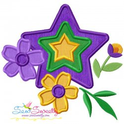 Mardi Gras Floral Star Applique Design