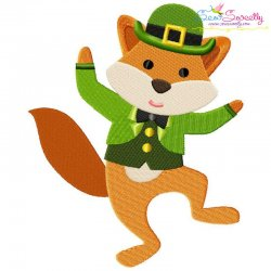 St. Patrick's Day Lucky Fox Embroidery Design