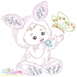 Colorwork Easter Baby Butterfly Embroidery Design