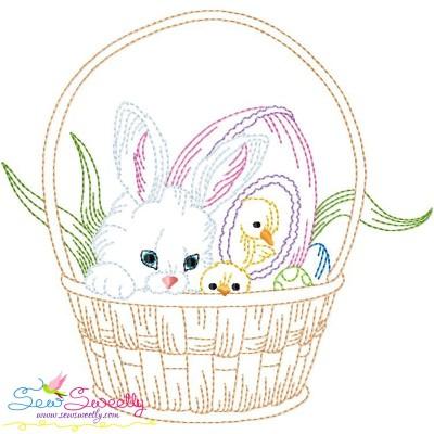 Colorwork Easter Bunny Chicks Basket Embroidery Design