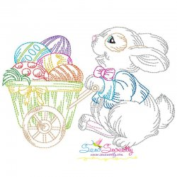 Colorwork Easter Bunny Eggs Wagon Embroidery Design
