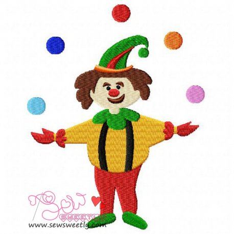 Funny Clown Embroidery Design
