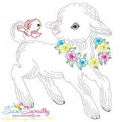 Colorwork Easter Lamb Embroidery Design