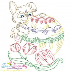 Easter Bunny Tulips Embroidery Design