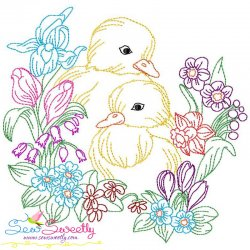Easter Chicks Flowers Embroidery Design