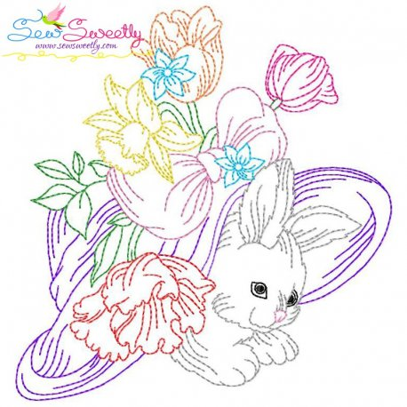 Easter Bunny Floral Hat Embroidery Design