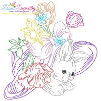 Colorwork Easter Bunny Floral Hat Embroidery Design
