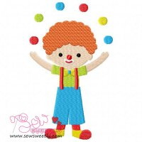 Clown Juggling Balls Embroidery Design