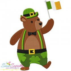 St. Patrick's Day Lucky Bear Embroidery Design