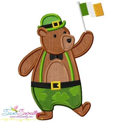 St. Patrick's Day Lucky Bear Applique Design Pattern- Category- St. Patrick's Day Designs- 1