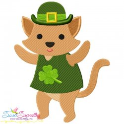 St. Patrick's Day Lucky Cat Embroidery Design